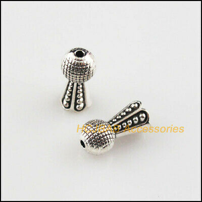 35Pcs Tibetan Silver Tone Leaf Cone Horn Spacer End Beads Connectors 6.5x13mm