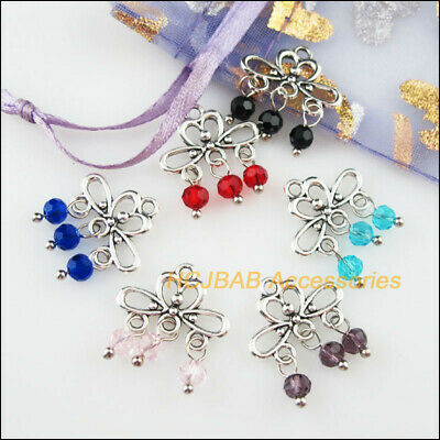 12Pcs Tibetan Silver Tone Cross Mixed Acrylic Charms Flowers Pendants 32x47.5mm