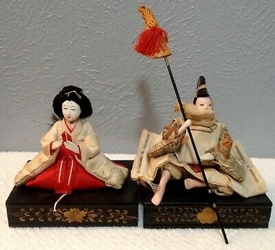 Antique Vintage 2- Japanese Hina Dolls On Stand Very Good Vintage Condition #2