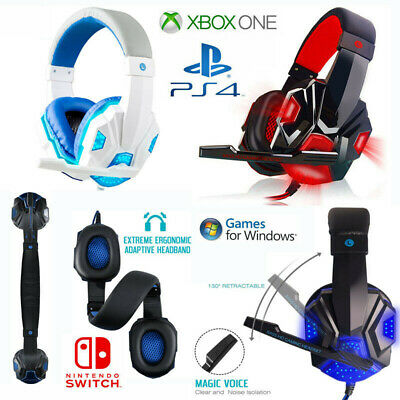 3.5mm LED Gaming Headset with Mic Stereo Surround Headphones for PS4 Xbox PC ☊