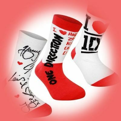 SIX PAIRS OF ONE DIRECTION COTTON RICH ANKLE SOCKS UK Size 4 - 6.5  XMAS NEW