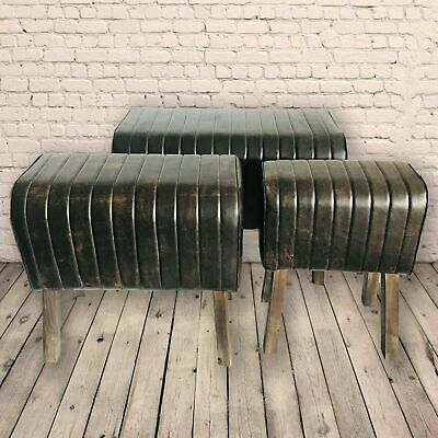 Retro Brown Vintage Style Pommel Horse Faux Leather Foot Stool Seat Chair