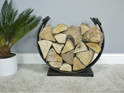 Large Round Log Holder Fire Distressed Finish Stylish Contemporary fireside