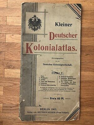 Germany Old Book German Colonial Atlas Map Kiautschou Tsingtau Africa Kamerun !!