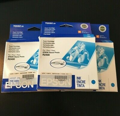 Epson T0592 Cyan Printer Ink Cartridge Stylus R2400 New in Box Expired Set of 3
