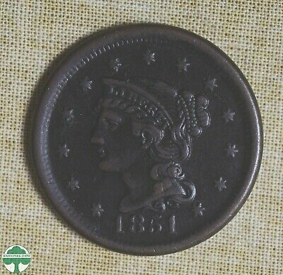 1851 Braided Hair Large Cent - Very Fine Details