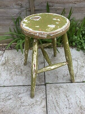 Vintage Wooden Stool 4 Leg Painted Green Rustic Plant Stand