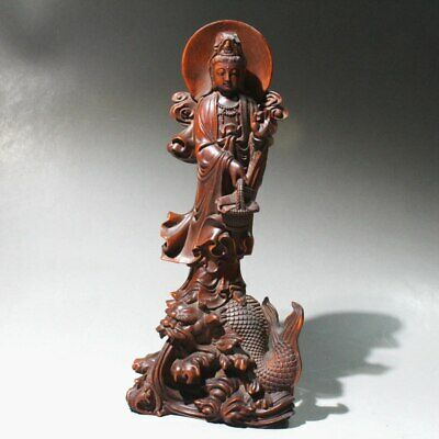 AAA Collect China Old Boxwood Hand-Carved Myth Dragon Kwan-Yin Auspicious Statue
