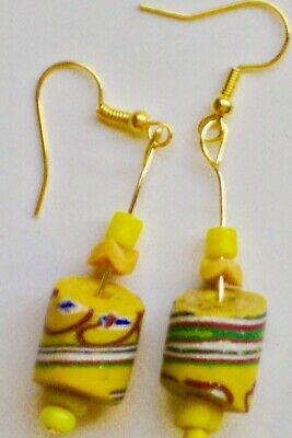 earrings made of lovely antique Venetian glass trade beads from Africa