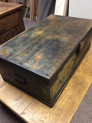 Antique Pine Box Potential Coffee Table Victorian  Free Delivery