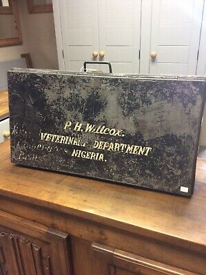 Antique Metal Box Nigerian Vetenirary Collectable Free Delivery