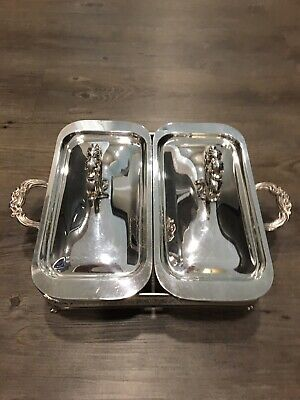 Sterling Silver Serving Set Sterling Silver Plated Lids and Stand Pyrex Trays