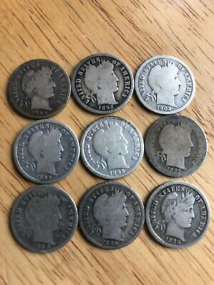Lot of 9 Better Date Barber Liberty Dimes