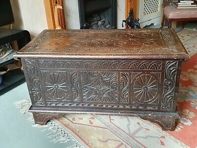 Antique Handcarved Engraved Oak Coffer Chest Storage Blanket Box with Hinged Lid