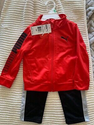 Puma Baby Boy Outfit Size 18 Months Black / Red Tracksuit Set Spring Toddler