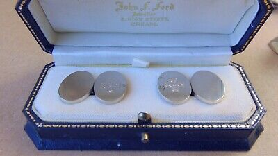 Excellent Pair Sterling Silver Oval Cuff Links Boxed