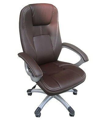 Executive Leather Brown Office Home Study Computer Desk Chair Swivel Ht Adjust.