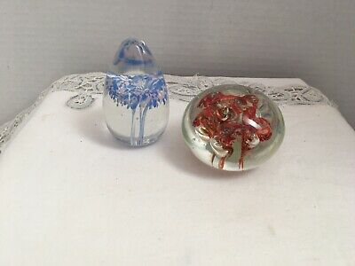 Two 2 Handcrafted Glass Paperweights  Blue Flower and Red Ribbon Made in England