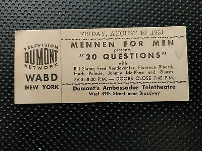 """RARE- 1951 """"20 QUESTIONS"""" -DUMONT TELEVISION NETWORK -ticket stub- N.Y.C."""
