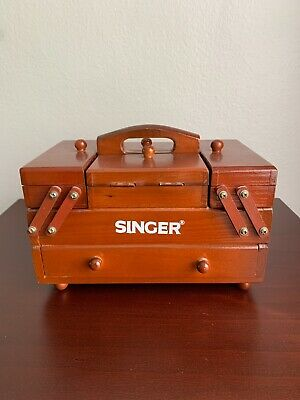 Vintage Antique Singer Wooden Accordion Fold Out Sewing Box Organizer Carrier