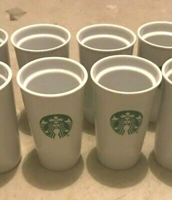 6 x NEW Starbucks Double Wall Ceramic Coffee Travel Tumbler Cup,10 oz. NO LID
