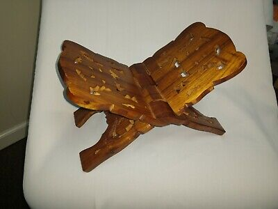 Wood Hand-Carved Bible / Cookbook Holder Folding Stand - Ornate - FREE Shipping!