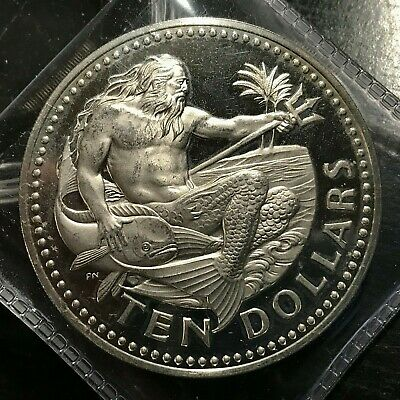 1973 Barbados $10 Silver King Neptune Proof Crown