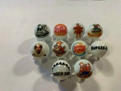"""BURGER KING  5/8"""" GLASS MARBLES COLLECTION with stands"""