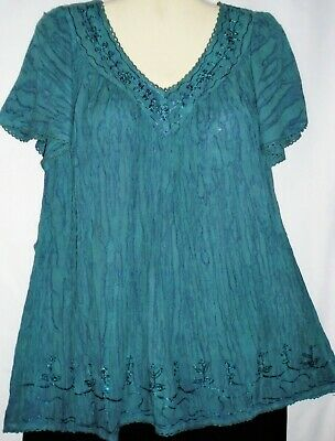 Womens Top Blouse Tunic Teal Sequins Short Sleeves Plus Size Fits 1X 2X Advance