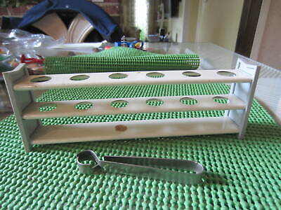 Vtg Test Tube Metal Holder w Tong Rack science project experiment