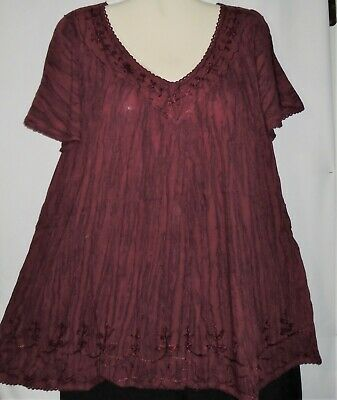 Womens Blouse Top Tunic Burgundy Sequins Short Sleeves Plus Size Fits 1X 2X