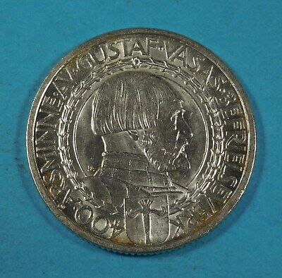 1921 SWEDEN SILVER 2 KRONOR COIN - 400 years Political Liberty- UNC - SILVER