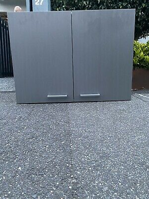 Storage Cupboard Cabinet - Grey With Silver Handles