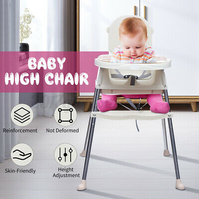 3 in 1 Baby High Chair Convertible Play Table Seat Booster Feeding Tray Wheel