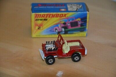 Matchbox Superfast Nr. 2b Jeep Hot Rod, rot + Box, 70er Jahre