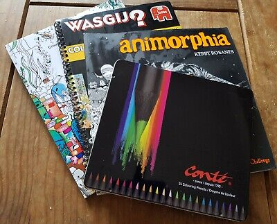 Job Lot Adult Colouring Books And 24 Colouring Pencils New