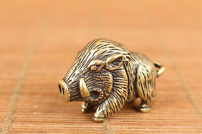 chinese old bronze hand casting  lovely pig statue figure collect