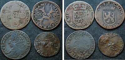SPANISH NETHERLANDS - 4 AE COINS, 17th/18th Century