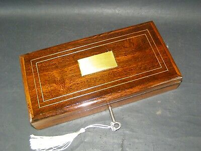 Antique Pen & Pencil Box Working Lock & Key 1880  Brass Center & Stringing