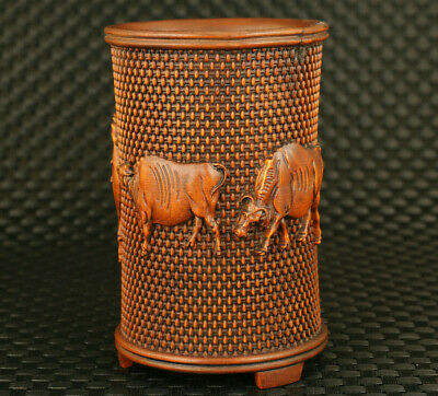 chinese old boxwood hand caved cow statue brush pot/vase decoration collection