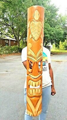 """39.5"""" Handcarved Natural Style Turtle Wood Tiki Mask with Unique Design!"""