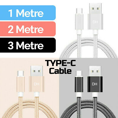 HeavyDuty Braided USB C Fast Charge Charger Charging Data Long Cable 1m 2m 3m