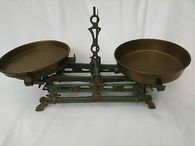 Antique English Cast Iron Candy Balancing Scale w/ Brass pans. Vintage