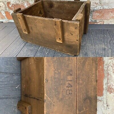 Vintage Wooden Planter Storage Box Amo? Display Salvage Reclaimed Rustic