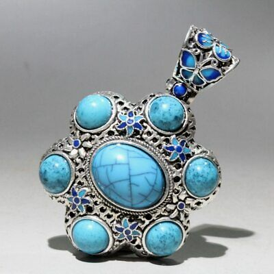 Collectable China Miao Silver Cloisonne Agate Handwork Carve Noble Lucky Pendant