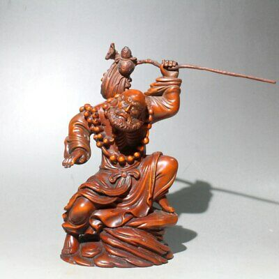 Collectable China Old Boxwood Hand-Carved Ancient Buddha Noble Auspicious Statue