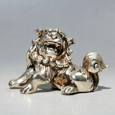Collectable China Old Handwork Miao Silver Carve Lion Delicate Auspicious Statue