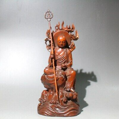 Collectable China Old Boxwood Hand-Carved Buddha Auspicious Noble Unique Statue