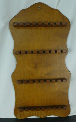 Vtg Wood Wooden Collector Souvenir Spoon Holder Display Hanging 32 Slot Wall