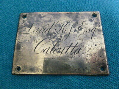 Antique 1800 Calcutta India Indian brass name plaque for David Ross Esq
